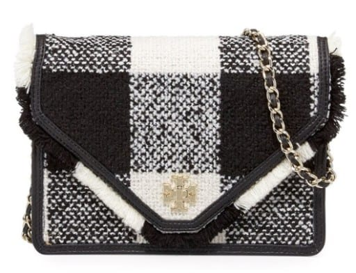 Tory Burch Kira Tweed Crossbody Bag, Black/White • $395
