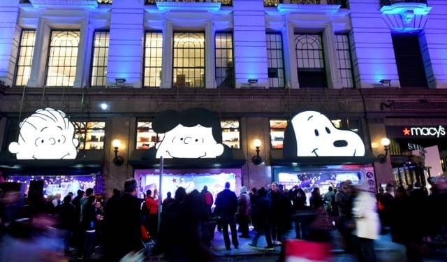 Macyís Herald Square unveils its legendary Christmas windows celebrating the 50th Anniversary of the holiday classic, ìA Charlie Brown Christmasî on Friday, Nov. 20, 2015, in New York.  (Photo by Diane Bondareff/AP Images for Macy's)