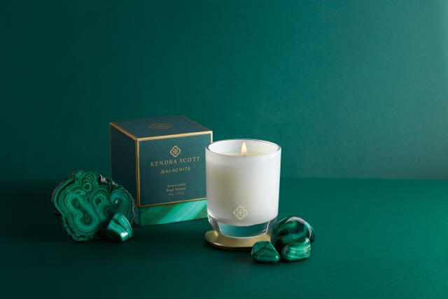 The home collection features four soy wax candles that reference Scott's favorite gemstones: KS Signature, suggests subtle notes of lily and blonde woods, Rose Quartz, involves a light, romantic bouquet of wild peony and rose petals with hints of vanilla and raspberry nectar. The Malachite candle incorporates notes of exotic frankincense and warm amber while the Amethyst one features a blend of blackberry and lilac blossoms and sandalwood for balance. Kendra Scott home collection is available online and at Kendra Scott store locations. They range in price from $25 for a 3-oz.votive, $65 for an 8-oz. tumbler and 3-oz. votive gift set of three for $70. Shop the Kendra Scott Home Collection